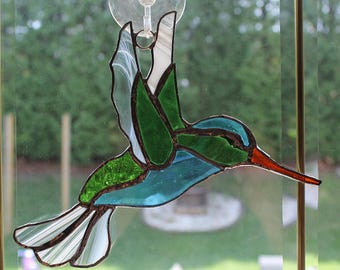 Stained glass Seattle Seahawk Hummingbird