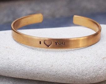 Child's Bracelet, I LOVE YOU Cuff,  Kid's Jewelry, Heart Cuff, Heart Bracelet, Valentine's Gift