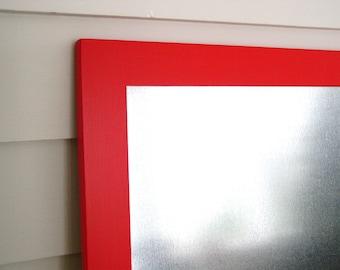 Modern Red Industrial Wood Framed Magnetic Bulletin Board 20.5 x 26.5 Dry Erase Galvanized Steel Handmade Hardwood Frame Memo Message Board