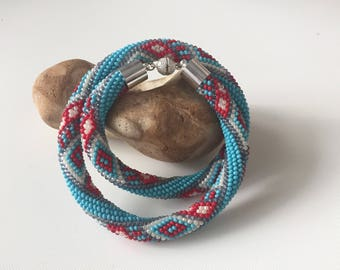 Rope bead crochet necklace