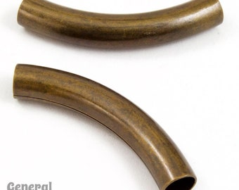 30mm Antique Brass Curved Tube Bead #MBE070