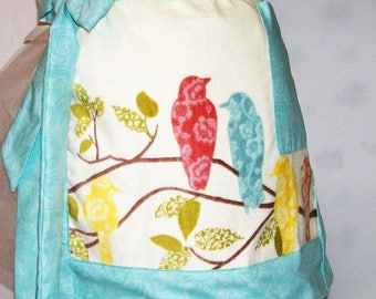 Women's Handmade  Birds Towel  Apron, Towel Half Apron, Kitchen Apron, Serving Apron, Gift for Mom, Made in the USA, #28A
