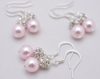 4 Pairs Pink Pearl Bridesmaid Earrings, Sterling Silver Earrings, Light Pink Pearl and Rhinestone, Pink Pearl Earrings, Pink Pearl Drop 0115