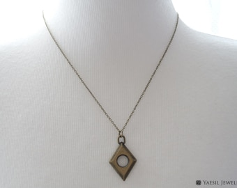 Men's Antique Necklace, Rhombus Necklace, Vintage Style Necklace, Bronze Diamond Shape Pendant Necklace, Personalized Gift