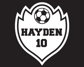 Custom Soccer Decal, Personalized Soccer Name and Number Decal, Soccer Car Decal, Soccer Auto Decal, Soccer Mom Sticker, Soccer Decal