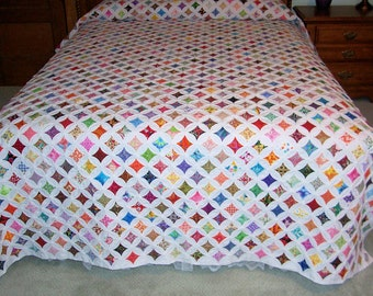 Twin Bedspread~double coverlet Cathedral Window quilt