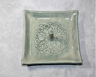 Stormy Seas (blue/green) Square Mandala ring dish with center spiral. For bridesmaid, wedding favor, ring holder, prom, bride