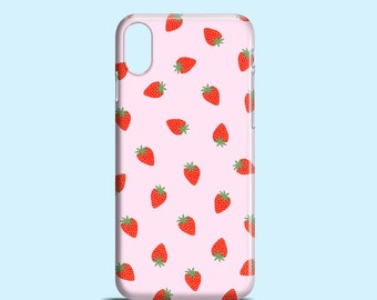 Pink Strawberries phone case / Cute iPhone X case, iPhone 8, iPhone 7, iPhone 7 Plus, iPhone 6/6S, iPhone 5/5S/SE / Samsung Galaxy S cases