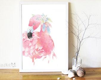 Flamingo  Art Printable ,Animals Art Printable, Digital Art Printable, animal clipart, Instant Download Art