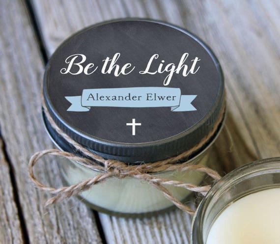 25 - 4 oz //Be the Light Baptism Favor//First Communion Favor//Soy Candle Favor//Personalized Baptism Favor
