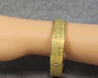 Vintage Victorian Style Etched Bangle Bracelet