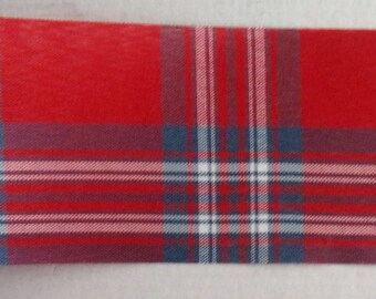 5 yards of fabric Ribbon - Scottish red blue white 70mm wide REF. 1642