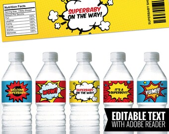 Superhero Water Bottle Labels. Printable Comic Book Bottle Labels - Wrappers - Wraps - Covers. Editable Baby Shower - Birthday Party Labels.
