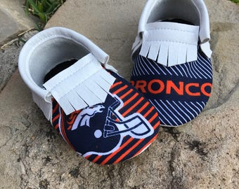 Denver Broncos Baby Shoes Moccasins - Handmade Moccs // Baby Moccs // Football Moccasins // TEXAS MOCCS // Baby Moccasins