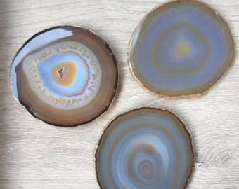 Gold Rimmed Authentic Brazilian Agate Coasters -Natural- Set of 4