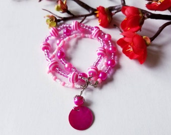 3 Layer Bracelet, Pink bracelet with Mother of Pearl shell beads.
