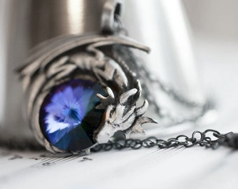 Purple Dragon Necklace - Swarovski Crystal with Pewter Pendant and Oxidized Sterling Silver Necklace