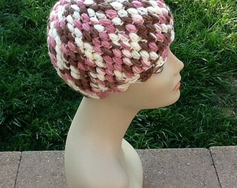 Crocheted Three Color Puffy Beanie Pink, Brown & Beige