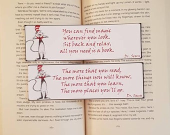 Set of 2, D.r Seuss bookmark quotes. Laminated bookmarks