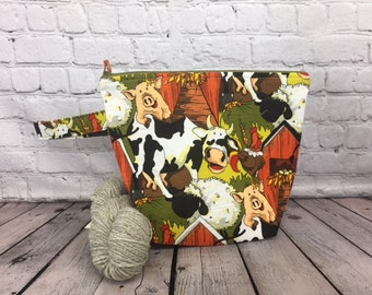 Autumn Farm Animals w/ Full length pocket, Knitting project bag, Crochet project bag,  Zipper Project Bag, Yarn tote