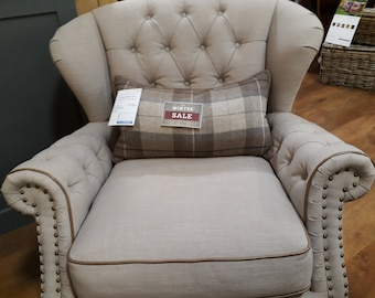 Leather Wing Chair Upholstered Handmade