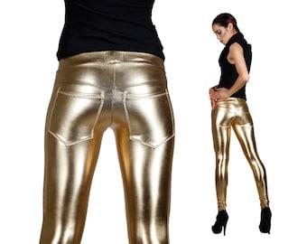 Gold Leggings w. Jeans Back, Burning Man Leggings, Stage Wear, Glam Rock, Metallic Leggings, EDM Rave Wear, Meggings, Dancewear, LENA QUIST