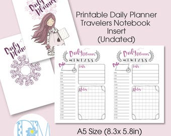 """A5 Size Daily TN Insert: """"LittleBoho"""" Vertical Week on 2 Page  Printable Insert for Travelers Notebooks"""