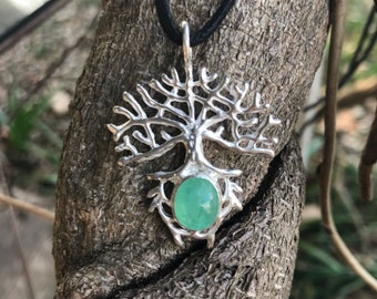 Sterling Silver and Chrysoprase Tree Pendent