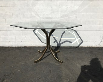 Dining Table Base Mid Century Modern Dinette Kitchen Hollywood Regency Danish Brass Gold FInish Metal Milo Baughman Style Retro Vintage
