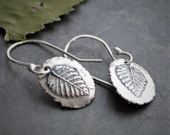 Leaf Earrings, Tree Earrings, Botanical Earrings, Tree Leaf Earrings, Fine Silver Earrings, Nature Earrings, Dangle Earrings, Elm Tree Leaf