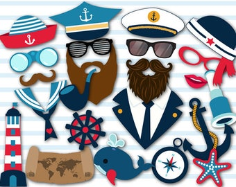 Instant Download Nautical Photo Booth Props, Nautical Party, Cruise Photo Booth Props, Sailor Party Photo Booth Props, Old Sea Captain, 0035
