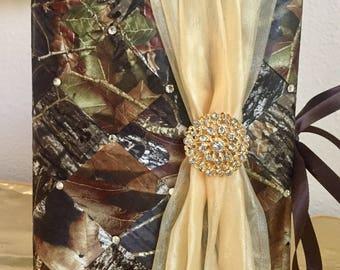 "Camo Wedding Photo Album, Personalized Album, Anniversary Photo Album, Swarovski Crystals, 100 - 4"" x 6"" Photos, Swarovski Crystals"