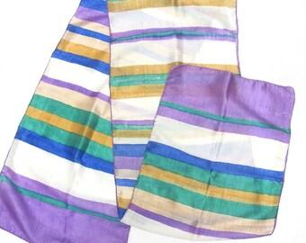 Purple Yellow White Silk Scarf Sash