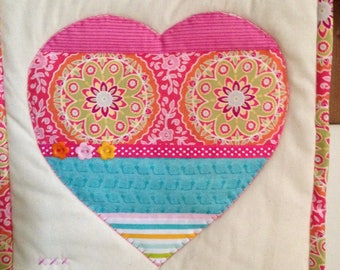 Hand Made Heart Mini Quilt Wall Hanging Appliquéd including wire heart hanger