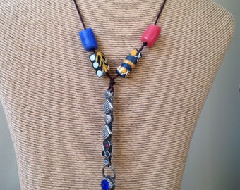 Tribal Necklace, Afghan Tribal Necklace, African Trade Beads, Yellow, Red, Blue, Fabric Hemp Cord, Long Necklace, Etsy Jewelry