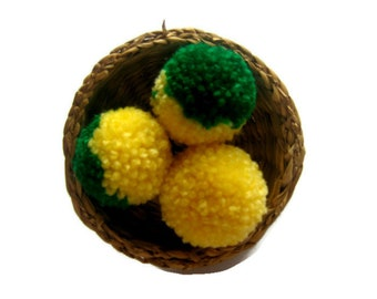 Yarn PomPoms DIY, Yellow & Green Pom Poms 30mm x 30mm, 10-100 count, Yellow and Green Two Color Yarn Balls, Cotton and Acrylic Yarn PomPoms