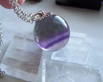 Rainbow Fluorite Gemstone Crystal Ball Pendant Necklace