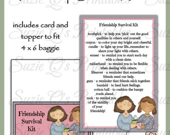 Friendship Survival Kit includes Topper and Card - Digital Printable - Immediate Download