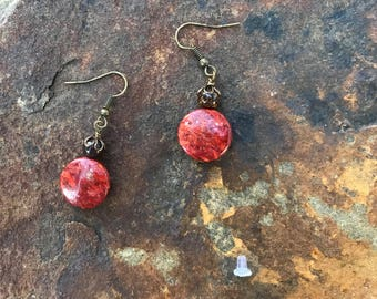 Red Coral and Bronzite Earrings