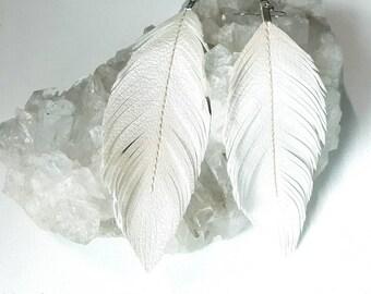 Feather Earrings, Wedding White, Pearlized Faux Leather, Bohemian Bride, Boho Earrings, Feather Earrings, Bridal, Vegan, Boho Bride, Bridal