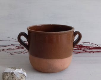 Handmade terracotta confit pot from the 1940s France
