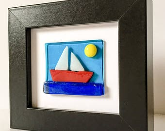 Fused Glass Sailing Boat Scene