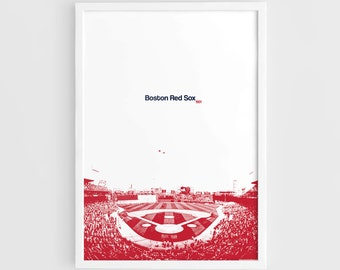 Boston Red Sox, Fenway Park Stadium - A3 Wall Art Print Poster, League Baseball, World Series champions, Baseball Poster