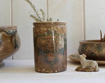 Antique French large Jam pot FELIX POTIN . Ironstone . Tea stained Patina.