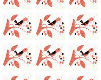 1950's Nesting Bird - Digital Image - Avrey Label - Stickers
