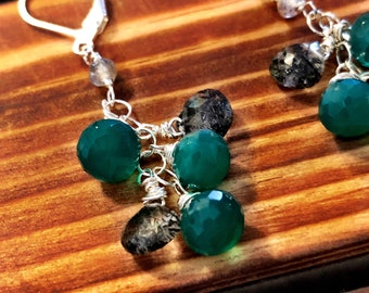 Unique green onyx dangles on sterling silver chain with dainty rutilated quartz.