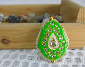 Ethnic Jewelry Connector, Acrylic Pendant, Indian Pendant, Pendant with Kundan work, Spacer Bead - Green