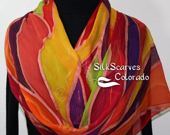 Coral Red Yellow Purple Handmade Silk Shawl. Retro Hand Painted Chiffon Scarf SUMMER BOUQUET. Large 14x72. Birthday Gift. Gift-Wrapped