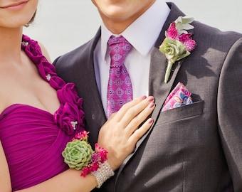 Matching Prom boutonniere and corsage - Lilac ribbon
