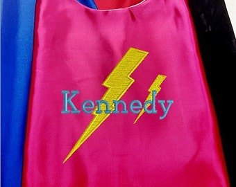 Girl's Cape,  Embroidered Super Hero Lightning Bolt Personalized with Name Hot Pink